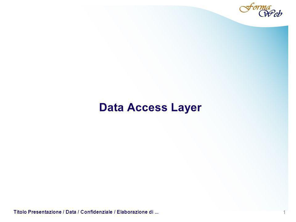 1 Titolo Presentazione / Data / Confidenziale / Elaborazione di... Data Access Layer