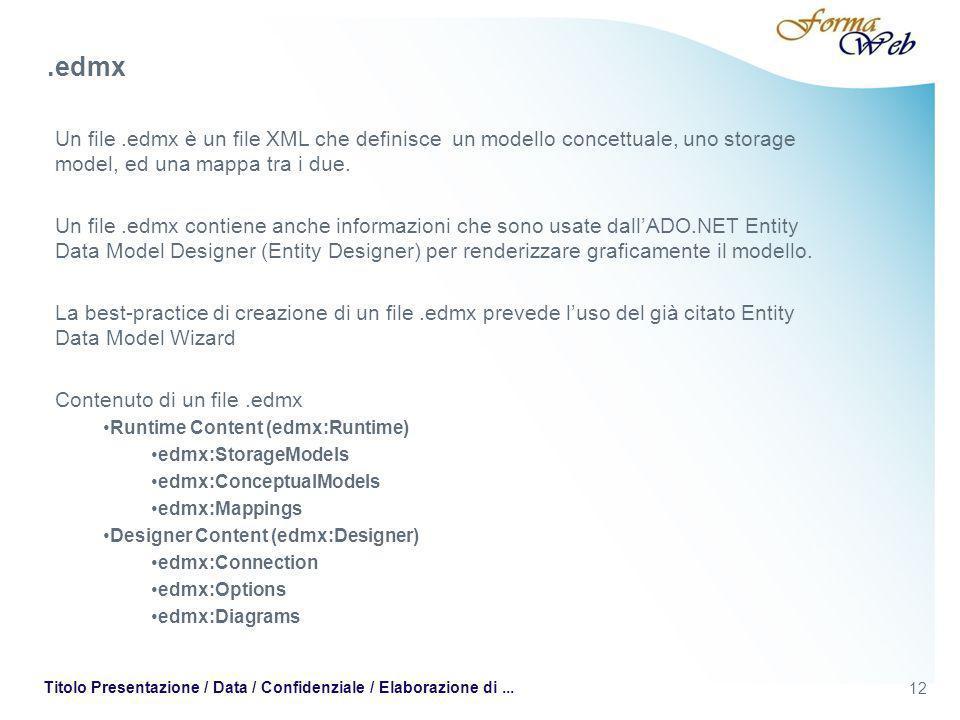 12 Titolo Presentazione / Data / Confidenziale / Elaborazione di... Un file.edmx è un file XML che definisce un modello concettuale, uno storage model