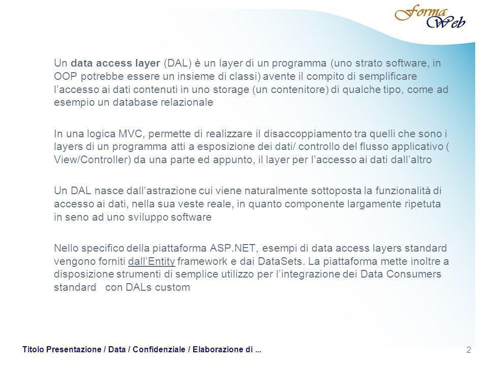 2 Titolo Presentazione / Data / Confidenziale / Elaborazione di... Un data access layer (DAL) è un layer di un programma (uno strato software, in OOP