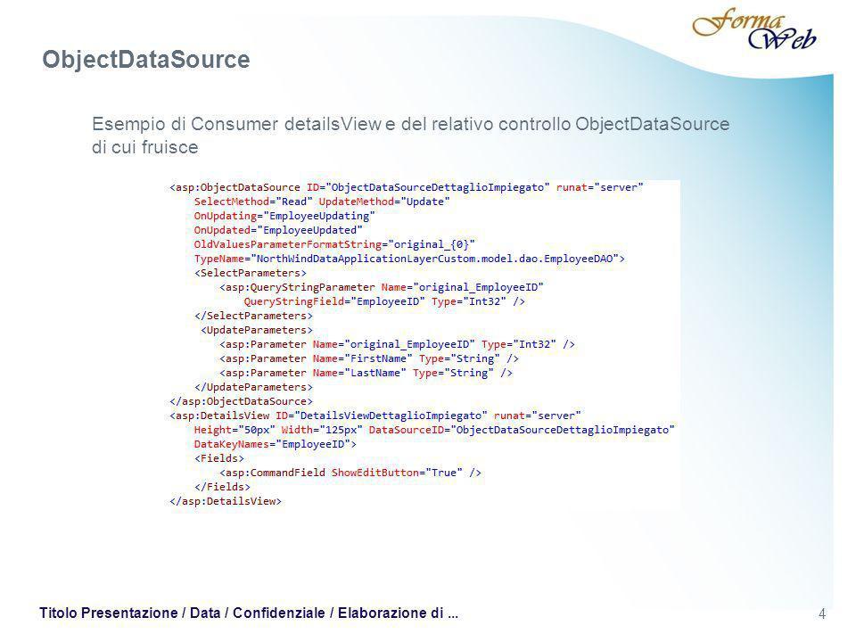 4 Titolo Presentazione / Data / Confidenziale / Elaborazione di... Esempio di Consumer detailsView e del relativo controllo ObjectDataSource di cui fr