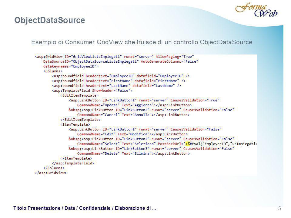 5 Titolo Presentazione / Data / Confidenziale / Elaborazione di... Esempio di Consumer GridView che fruisce di un controllo ObjectDataSource ObjectDat