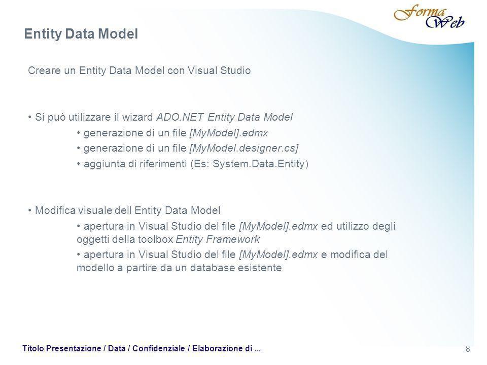8 Titolo Presentazione / Data / Confidenziale / Elaborazione di... Creare un Entity Data Model con Visual Studio Si può utilizzare il wizard ADO.NET E
