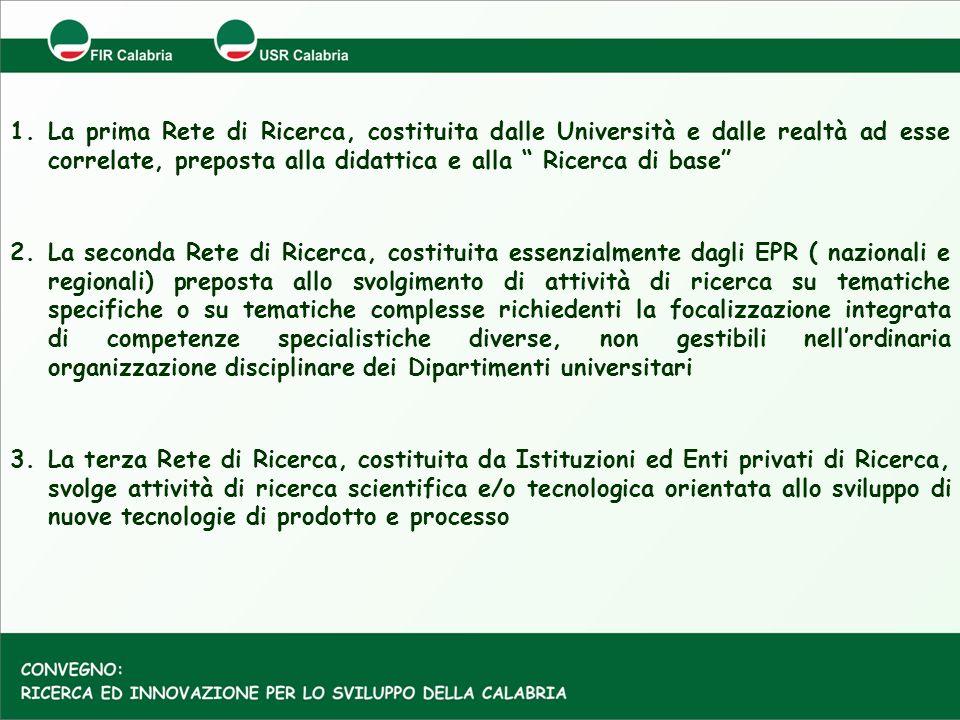 1.La prima Rete di Ricerca, costituita dalle Università e dalle realtà ad esse correlate, preposta alla didattica e alla Ricerca di base 2.La seconda