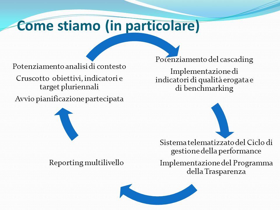 Potenziamento del cascading Implementazione di indicatori di qualità erogata e di benchmarking Sistema telematizzato del Ciclo di gestione della perfo