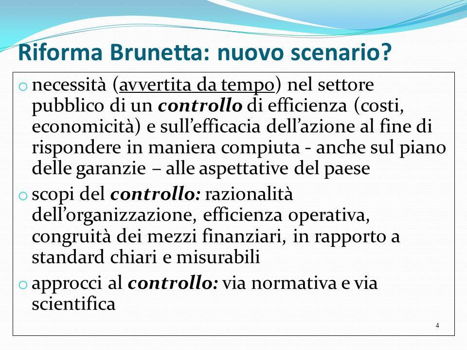 Riforma Brunetta: nuovo scenario? o necessità (avvertita da tempo) nel settore pubblico di un controllo di efficienza (costi, economicità) e sulleffic