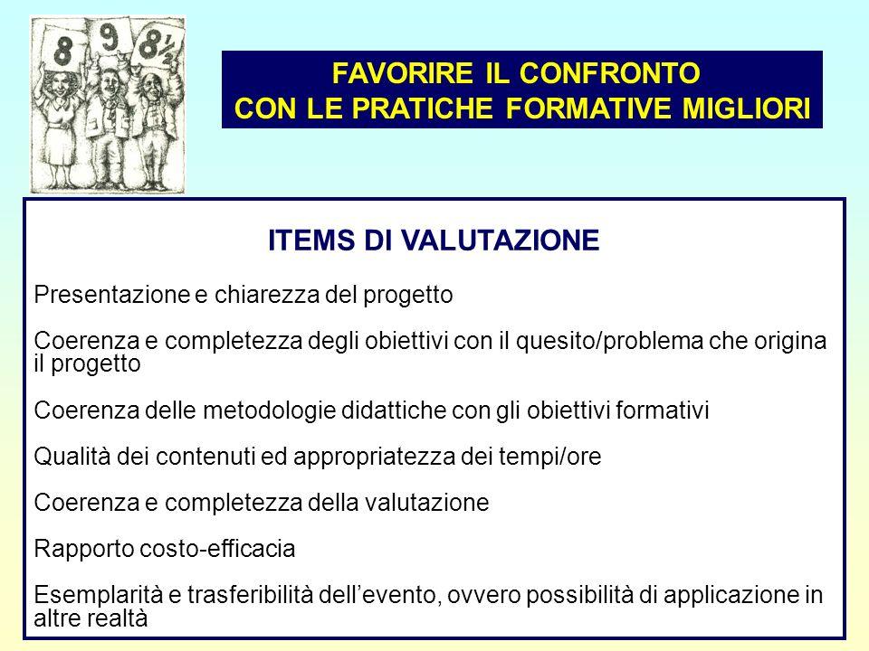 13 ITEMS DI VALUTAZIONE Presentazione e chiarezza del progetto Coerenza e completezza degli obiettivi con il quesito/problema che origina il progetto