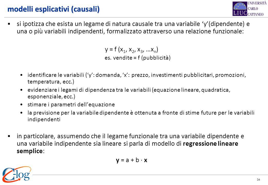 34 modelli esplicativi (causali) si ipotizza che esista un legame di natura causale tra una variabile y(dipendente) e una o più variabili indipendenti
