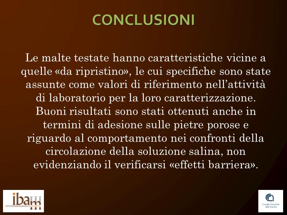 CONCLUSIONI Le malte testate hanno caratteristiche vicine a quelle «da ripristino», le cui specifiche sono state assunte come valori di riferimento nellattività di laboratorio per la loro caratterizzazione.