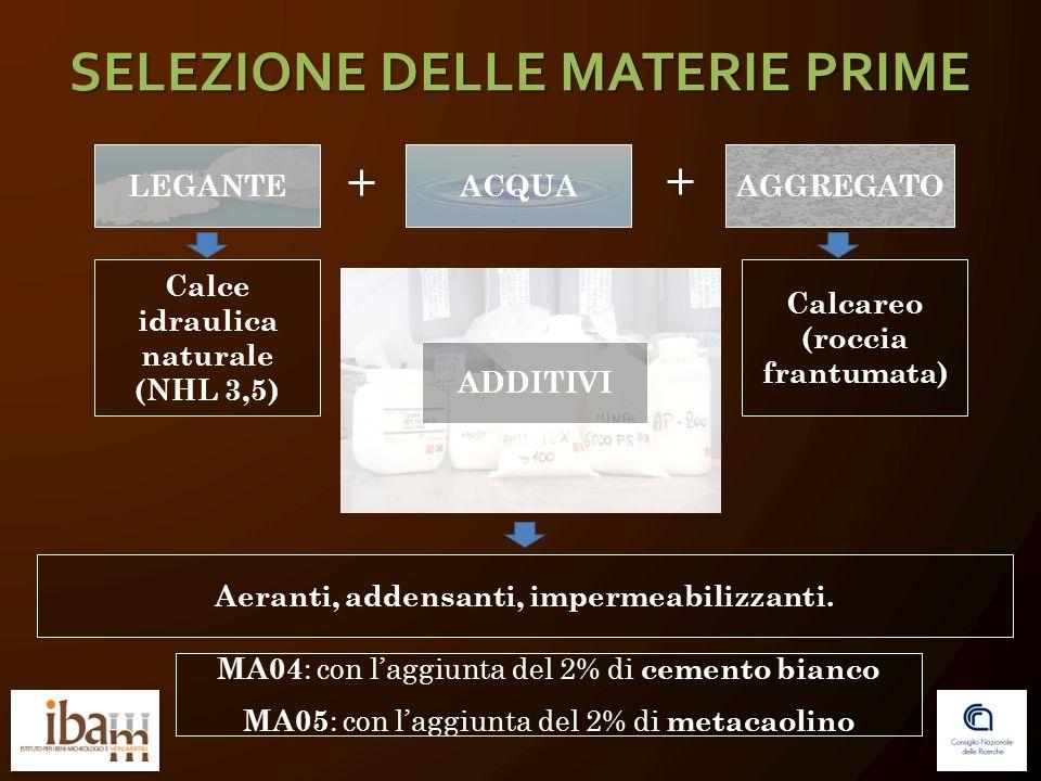 SELEZIONE DELLE MATERIE PRIME AGGREGATOACQUALEGANTE Calce idraulica naturale (NHL 3,5) Calcareo (roccia frantumata) ADDITIVI Aeranti, addensanti, impe