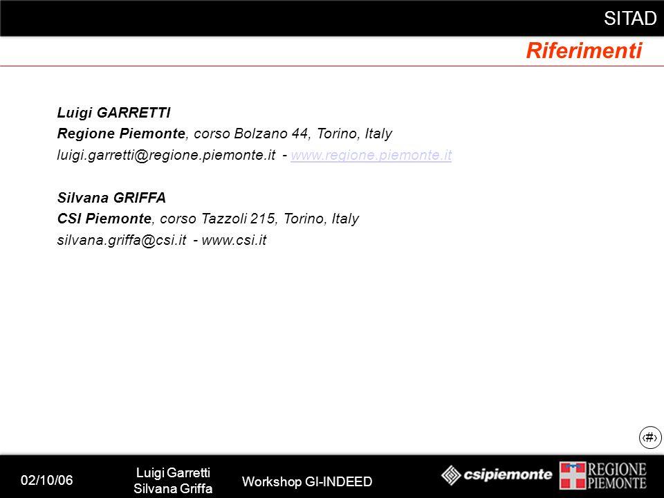 02/10/06 Luigi Garretti Silvana Griffa Workshop GI-INDEED SITAD 19 Riferimenti Luigi GARRETTI Regione Piemonte, corso Bolzano 44, Torino, Italy luigi.garretti@regione.piemonte.it - www.regione.piemonte.itwww.regione.piemonte.it Silvana GRIFFA CSI Piemonte, corso Tazzoli 215, Torino, Italy silvana.griffa@csi.it - www.csi.it