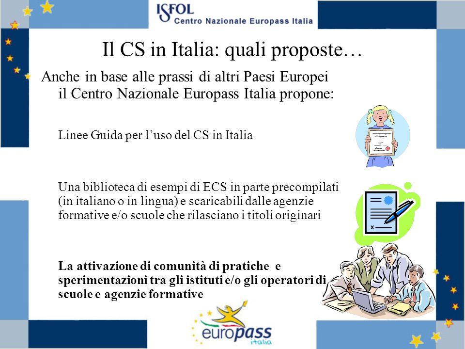 Il CS in Italia: quali proposte… Anche in base alle prassi di altri Paesi Europei il Centro Nazionale Europass Italia propone: Linee Guida per luso de