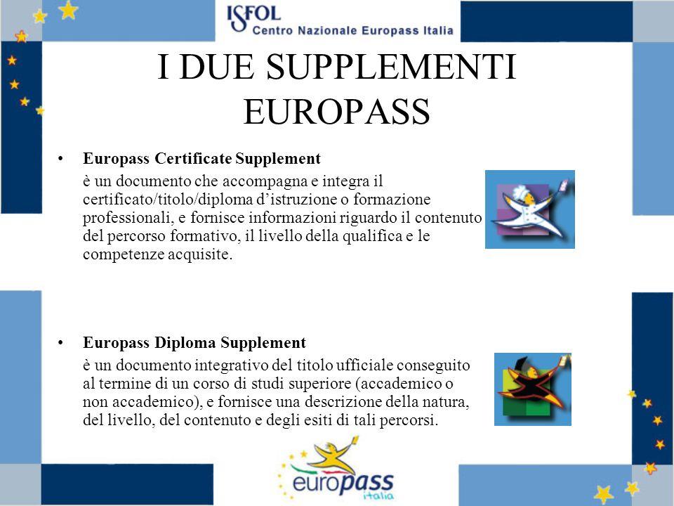 I DUE SUPPLEMENTI EUROPASS Europass Certificate Supplement è un documento che accompagna e integra il certificato/titolo/diploma distruzione o formazione professionali, e fornisce informazioni riguardo il contenuto del percorso formativo, il livello della qualifica e le competenze acquisite.