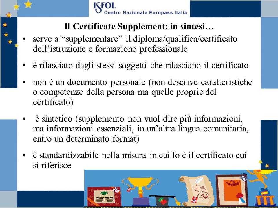 Il Certificate Supplement: in sintesi… serve a supplementare il diploma/qualifica/certificato dellistruzione e formazione professionale è rilasciato d