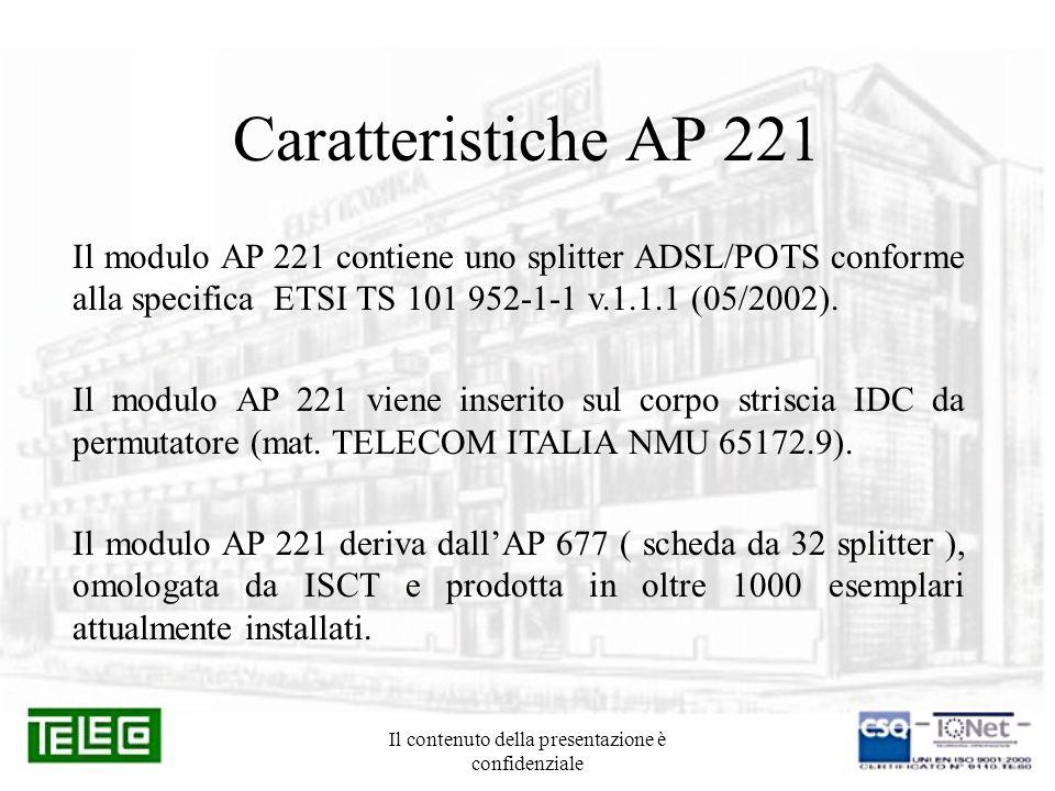Il contenuto della presentazione è confidenziale Caratteristiche AP 221 Il modulo AP 221 contiene uno splitter ADSL/POTS conforme alla specifica ETSI