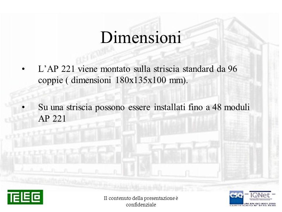 Il contenuto della presentazione è confidenziale Dimensioni LAP 221 viene montato sulla striscia standard da 96 coppie ( dimensioni 180x135x100 mm). S
