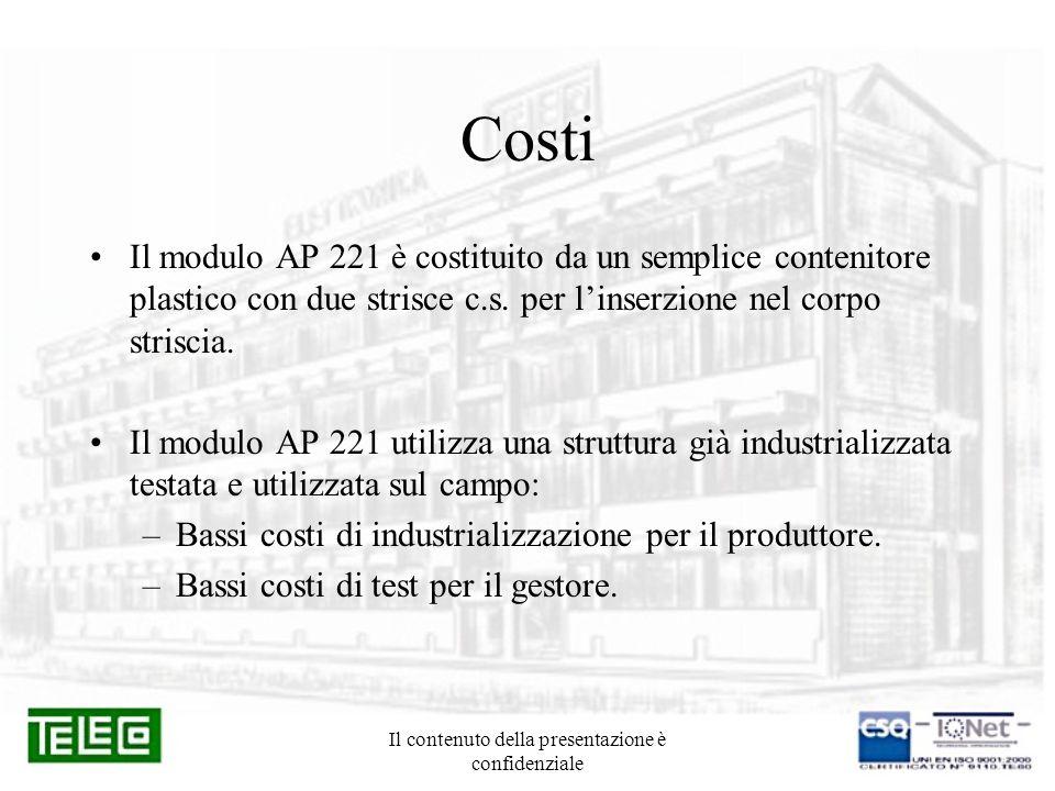 Il contenuto della presentazione è confidenziale Costi Il modulo AP 221 è costituito da un semplice contenitore plastico con due strisce c.s. per lins