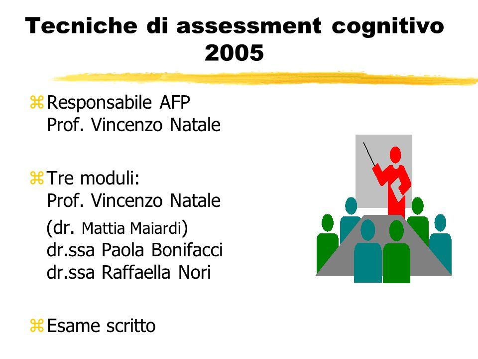 Tecniche di assessment cognitivo 2005 zResponsabile AFP Prof. Vincenzo Natale zTre moduli: Prof. Vincenzo Natale (dr. Mattia Maiardi ) dr.ssa Paola Bo