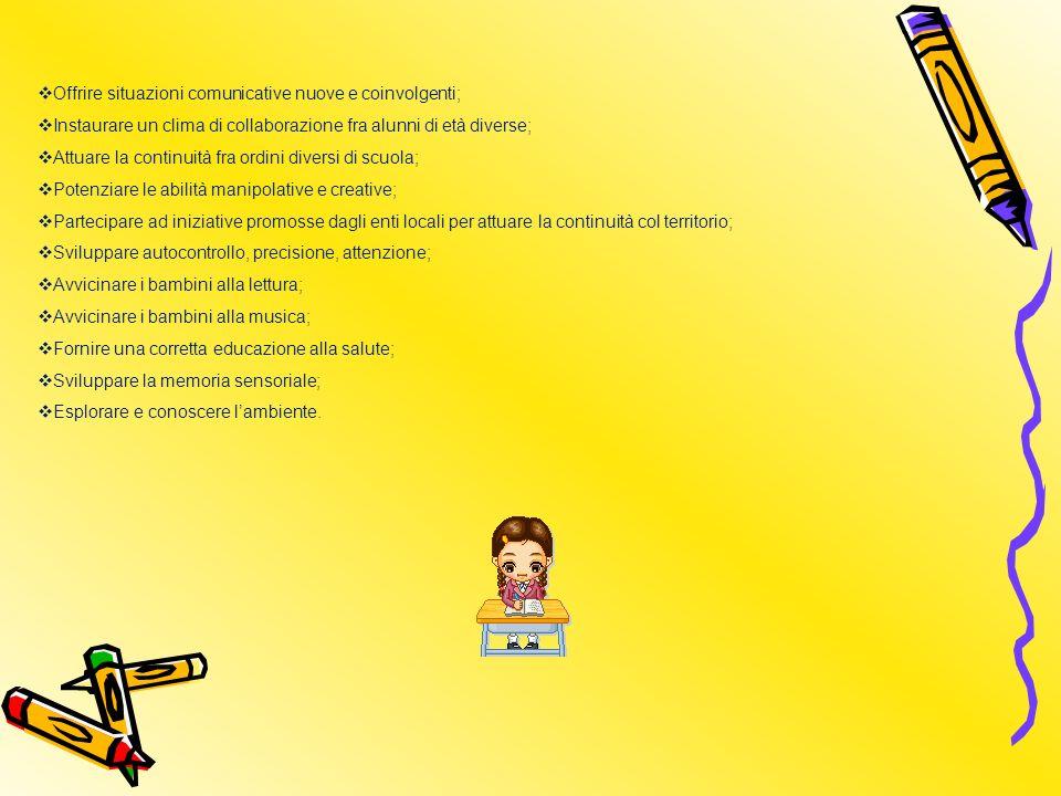 Offrire situazioni comunicative nuove e coinvolgenti; Instaurare un clima di collaborazione fra alunni di età diverse; Attuare la continuità fra ordini diversi di scuola; Potenziare le abilità manipolative e creative; Partecipare ad iniziative promosse dagli enti locali per attuare la continuità col territorio; Sviluppare autocontrollo, precisione, attenzione; Avvicinare i bambini alla lettura; Avvicinare i bambini alla musica; Fornire una corretta educazione alla salute; Sviluppare la memoria sensoriale; Esplorare e conoscere lambiente.