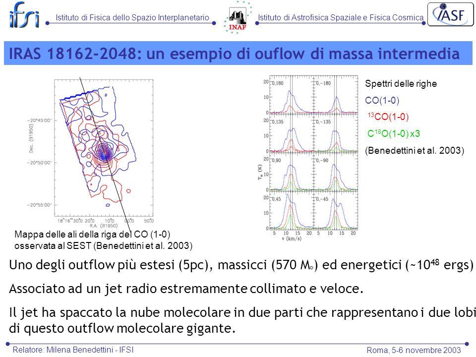 Istituto di Astrofisica Spaziale e Fisica CosmicaIstituto di Fisica dello Spazio Interplanetario Roma, 5-6 novembre 2003 Relatore: Milena Benedettini - IFSI Uno degli outflow più estesi (5pc), massicci (570 M ° ) ed energetici (~10 48 ergs) Associato ad un jet radio estremamente collimato e veloce.