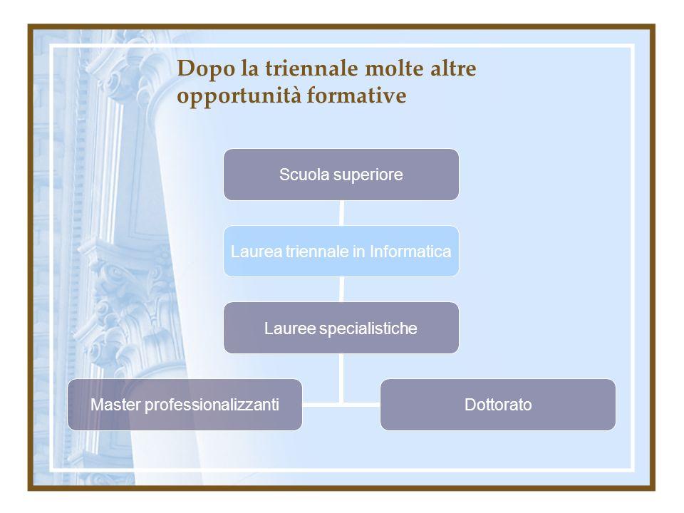 Dopo la triennale molte altre opportunità formative Scuola superiore Laurea triennale in Informatica Lauree specialistiche Master professionalizzanti