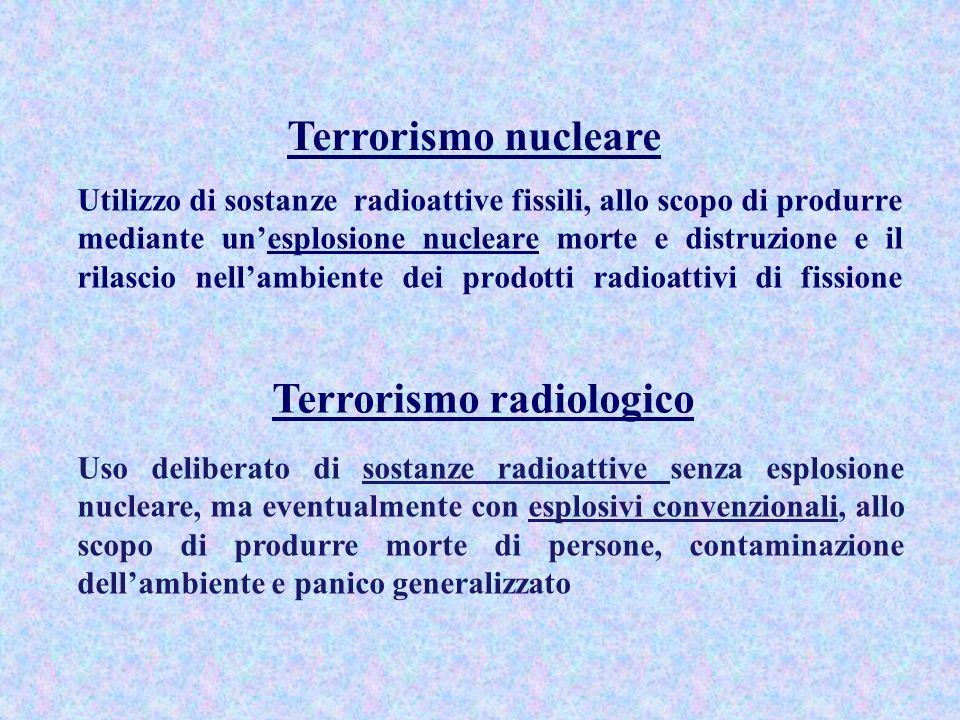 Tipologia di attacchi di terrorismo nucleare Detonazione in un centro abitato di ordigno sottratto ad arsenali di Paesi dotati di armi nucleari (evento assai poco probabile, per la difficoltà di sottrazione e di trasporto dellordigno e di attivazione dei dispositivi di detonazione) Detonazione di Improvised Nuclear Device (IND), e cioè di un ordigno costruito artigianalmente utilizzando materiali fissili speciali (uranio arricchito, plutonio) acquisiti in maniera illecita.