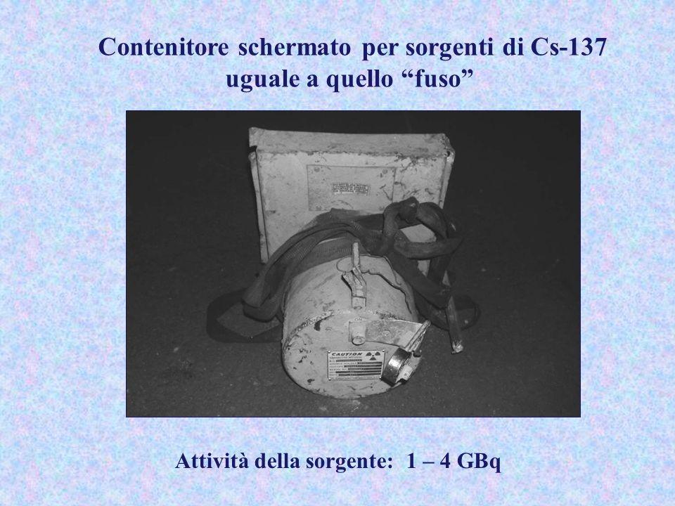 Contenitore schermato per sorgenti di Cs-137 uguale a quello fuso Attività della sorgente: 1 – 4 GBq
