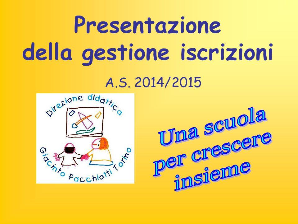 Presentazione della gestione iscrizioni A.S. 2014/2015
