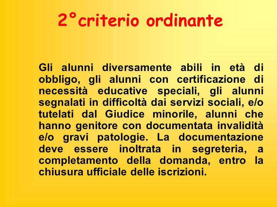 2°criterio ordinante Gli alunni diversamente abili in età di obbligo, gli alunni con certificazione di necessità educative speciali, gli alunni segnal