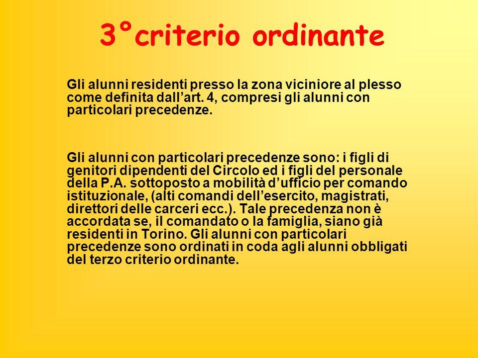 3°criterio ordinante Gli alunni residenti presso la zona viciniore al plesso come definita dallart. 4, compresi gli alunni con particolari precedenze.