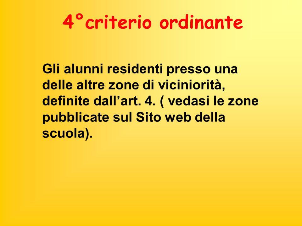 4°criterio ordinante Gli alunni residenti presso una delle altre zone di viciniorità, definite dallart. 4. ( vedasi le zone pubblicate sul Sito web de
