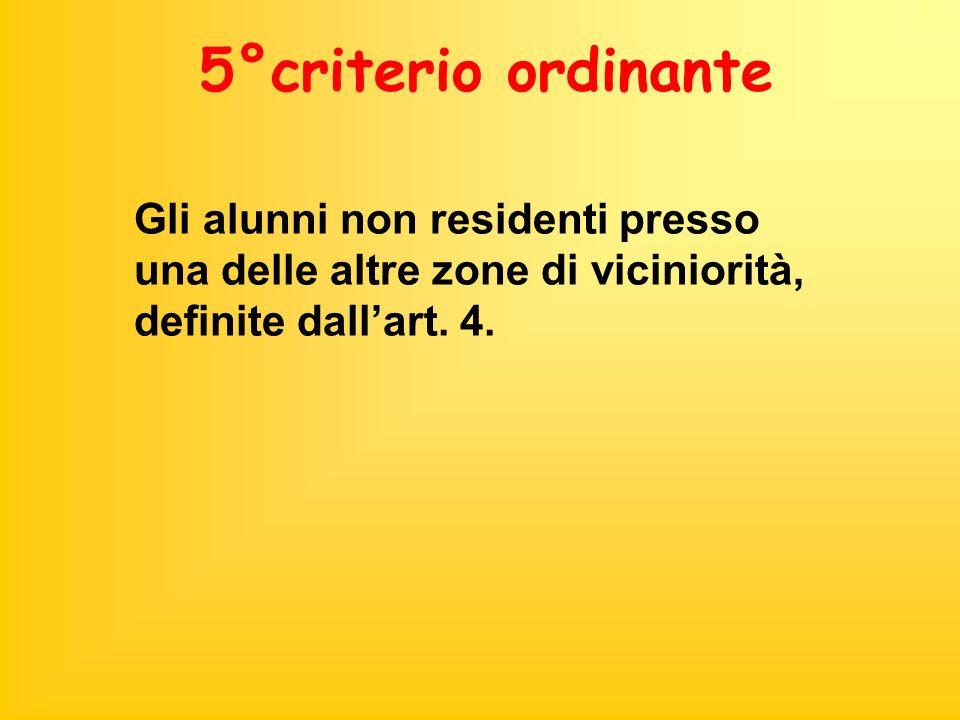 5°criterio ordinante Gli alunni non residenti presso una delle altre zone di viciniorità, definite dallart. 4.