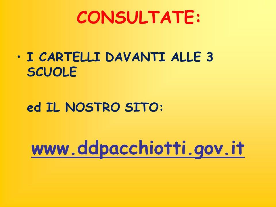CONSULTATE: I CARTELLI DAVANTI ALLE 3 SCUOLE ed IL NOSTRO SITO: www.ddpacchiotti.gov.it