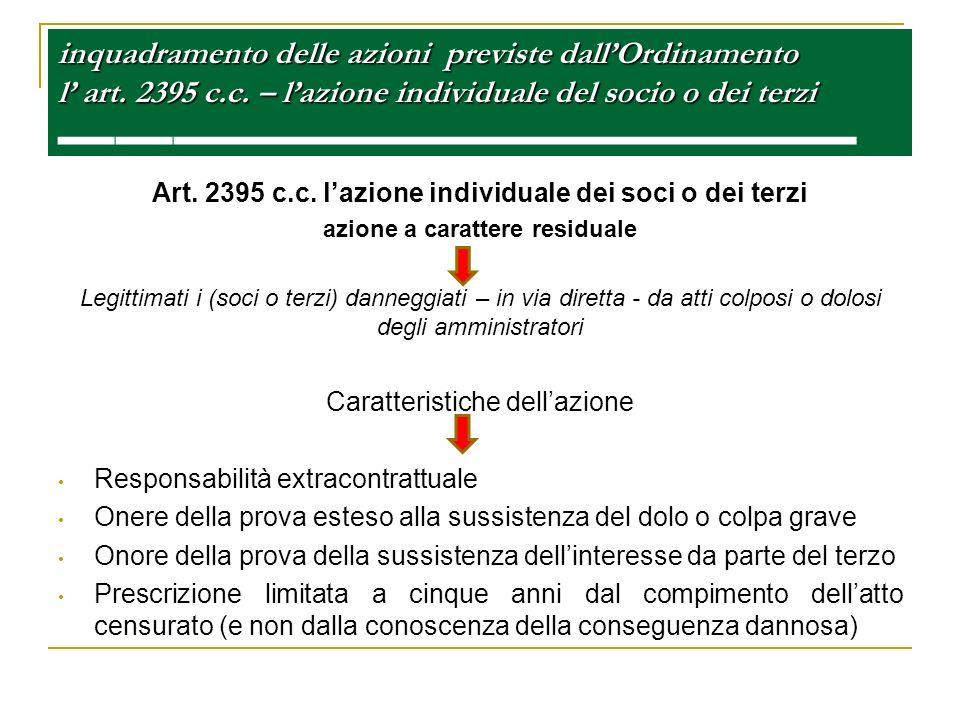 inquadramento delle azioni previste dallOrdinamento l art. 2395 c.c. – lazione individuale del socio o dei terzi inquadramento delle azioni previste d