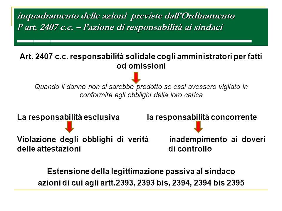 inquadramento delle azioni previste dallOrdinamento l art. 2407 c.c. – lazione di responsabilità ai sindaci inquadramento delle azioni previste dallOr