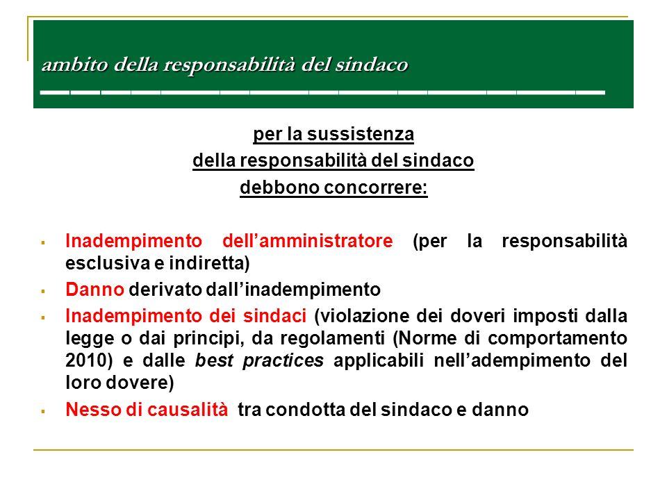 ambito della responsabilità del sindaco ambito della responsabilità del sindaco per la sussistenza della responsabilità del sindaco debbono concorrere
