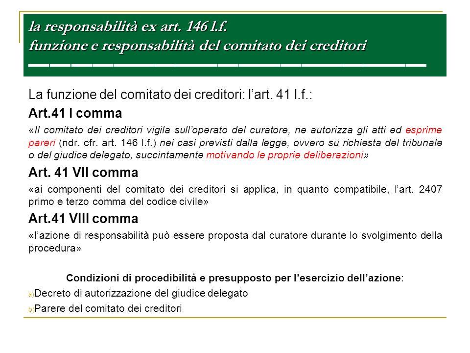 la responsabilità ex art. 146 l.f. funzione e responsabilità del comitato dei creditori la responsabilità ex art. 146 l.f. funzione e responsabilità d