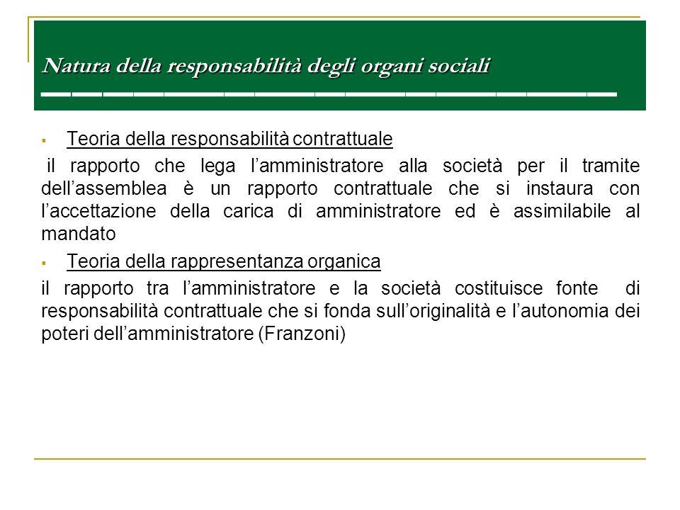 Natura della responsabilità degli organi sociali Natura della responsabilità degli organi sociali Teoria della responsabilità contrattuale il rapporto