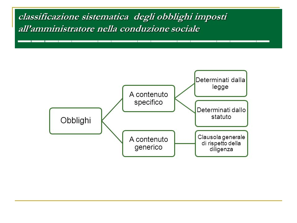 classificazione sistematica degli obblighi imposti allamministratore nella conduzione sociale classificazione sistematica degli obblighi imposti allam