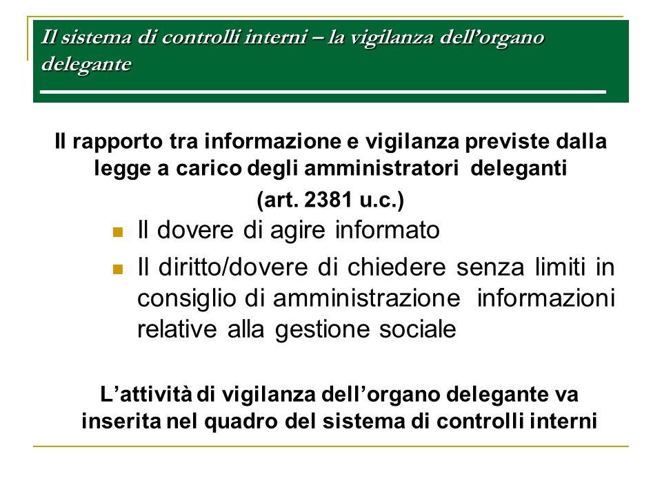 Il sistema di controlli interni – la vigilanza dellorgano delegante Il sistema di controlli interni – la vigilanza dellorgano delegante Il rapporto tr