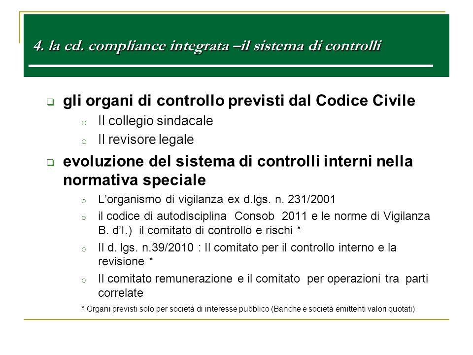 4. la cd. compliance integrata –il sistema di controlli 4. la cd. compliance integrata –il sistema di controlli e gli organi di controllo previsti dal