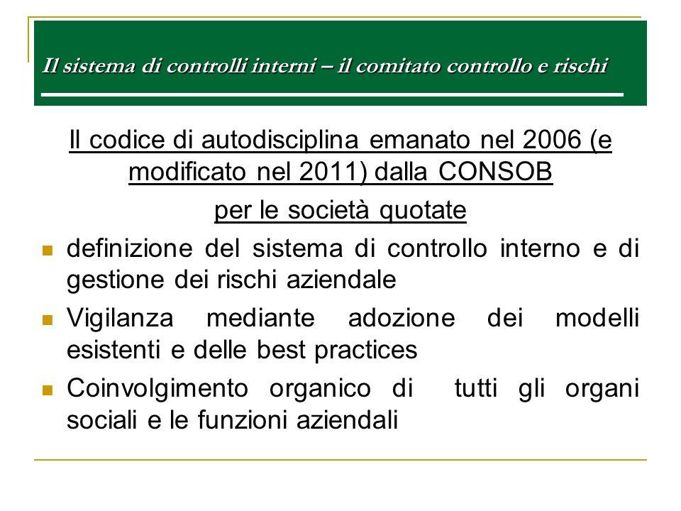 Il sistema di controlli interni – il comitato controllo e rischi Il sistema di controlli interni – il comitato controllo e rischi e Il codice di autod