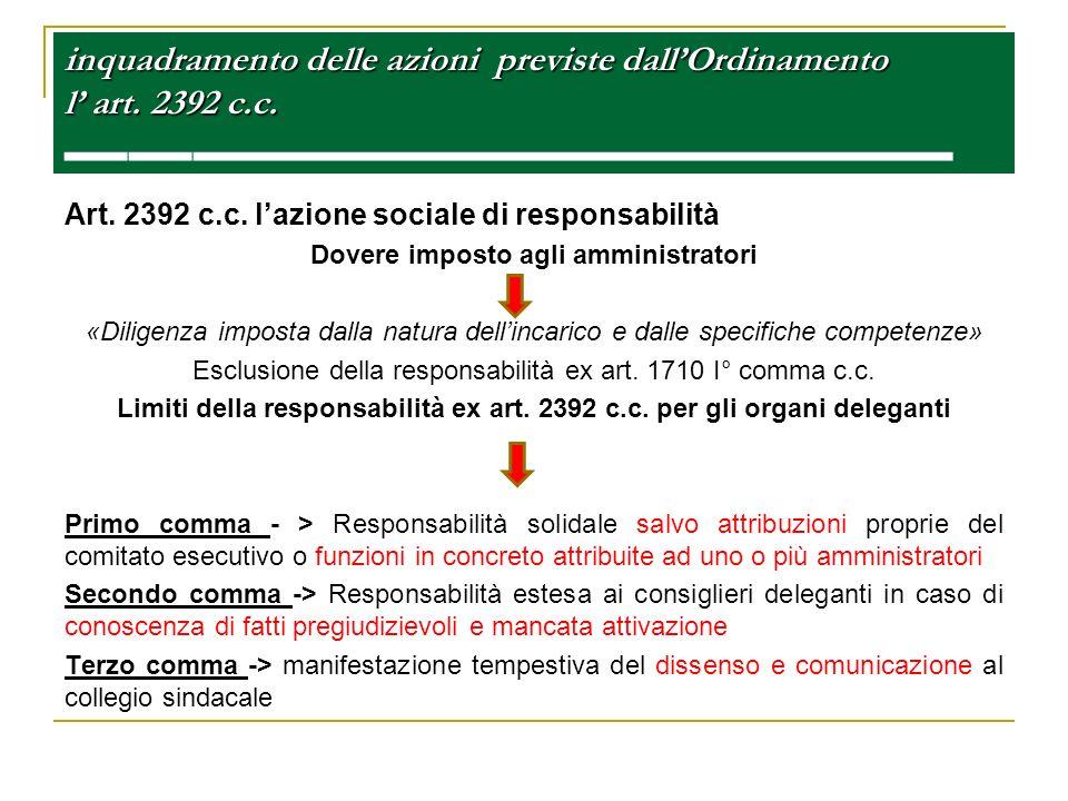 inquadramento delle azioni previste dallOrdinamento l art. 2392 c.c. inquadramento delle azioni previste dallOrdinamento l art. 2392 c.c. Art. 2392 c.