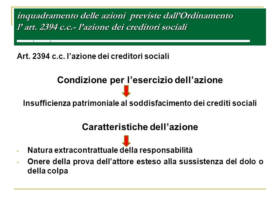 inquadramento delle azioni previste dallOrdinamento l art. 2394 c.c.- lazione dei creditori sociali inquadramento delle azioni previste dallOrdinament