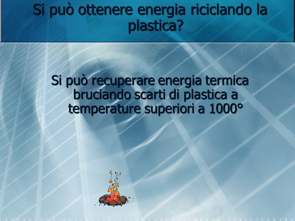 Si può ottenere energia riciclando la plastica? Si può recuperare energia termica bruciando scarti di plastica a temperature superiori a 1000°