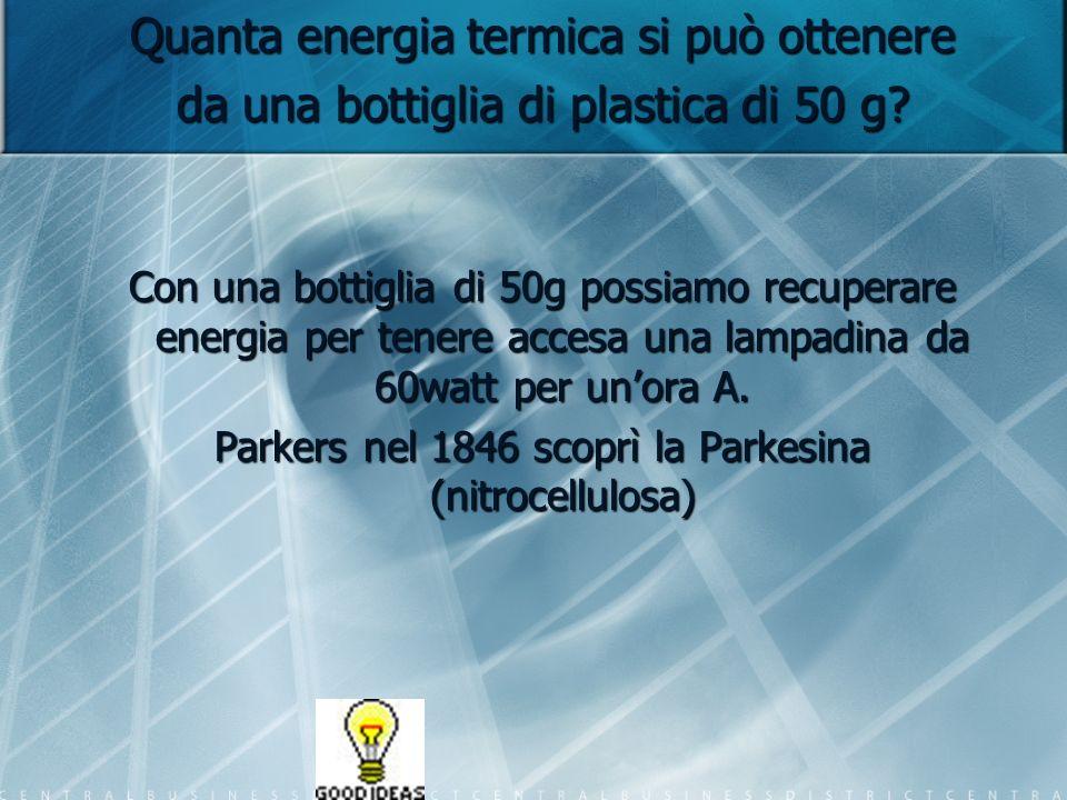 Quanta energia termica si può ottenere da una bottiglia di plastica di 50 g? Con una bottiglia di 50g possiamo recuperare energia per tenere accesa un