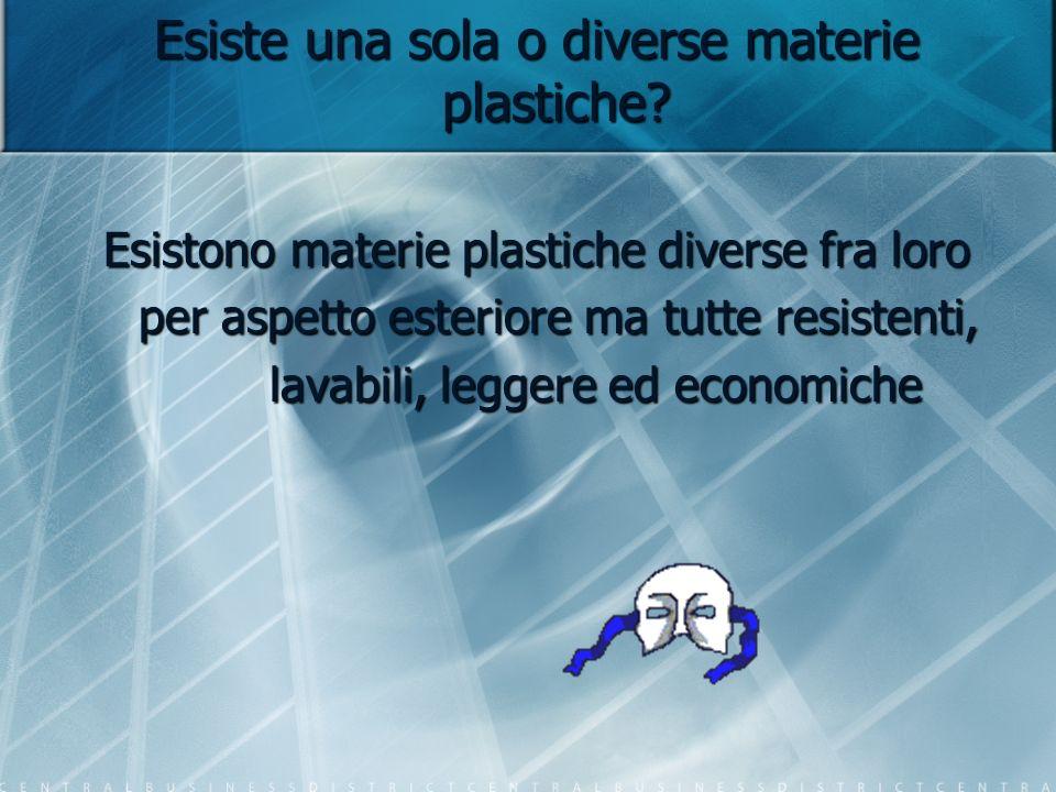 Esiste una sola o diverse materie plastiche? Esistono materie plastiche diverse fra loro per aspetto esteriore ma tutte resistenti, per aspetto esteri