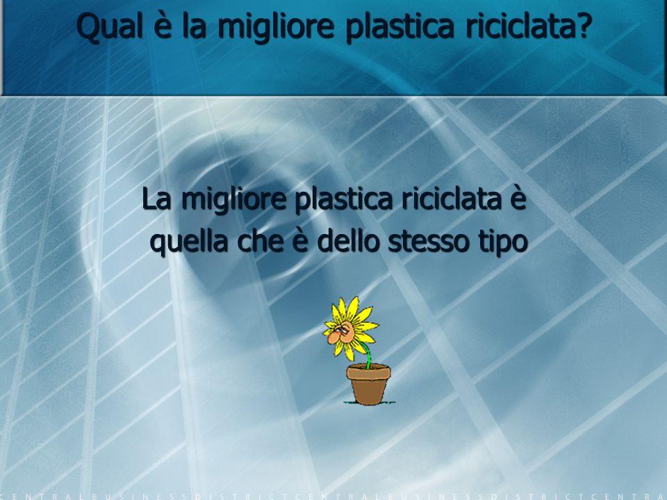 Qual è la migliore plastica riciclata? La migliore plastica riciclata è quella che è dello stesso tipo