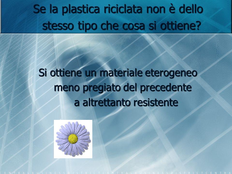 Se la plastica riciclata non è dello stesso tipo che cosa si ottiene? Si ottiene un materiale eterogeneo meno pregiato del precedente a altrettanto re