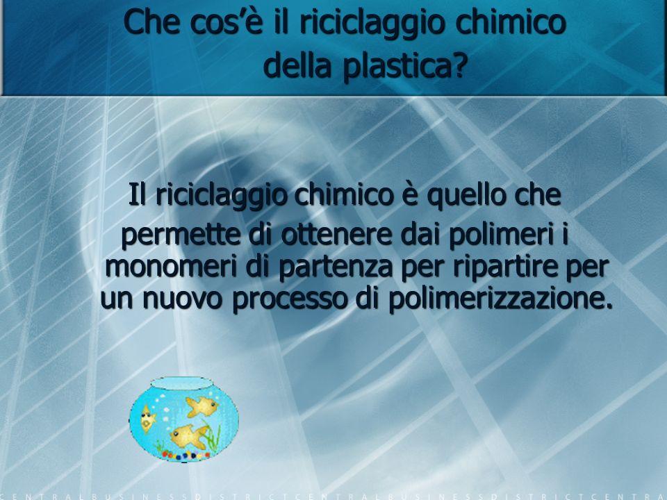 Che cosè il riciclaggio chimico della plastica? Il riciclaggio chimico è quello che permette di ottenere dai polimeri i monomeri di partenza per ripar