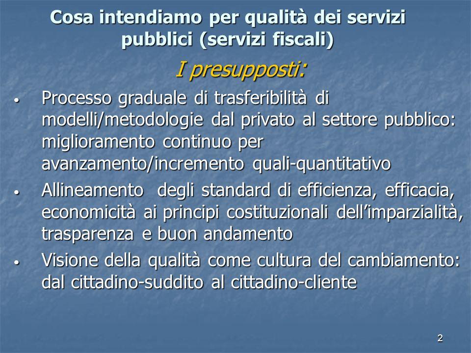 3 Come si può realizzare/la qualità nei servizi pubblici fiscali Gli strumenti : Attivazione di strumenti di gestione qualità più congeniali ai fini istituzionali e realtà organizzativa (certificazione UNI EN ISO, Carte dei servizi, Mod.